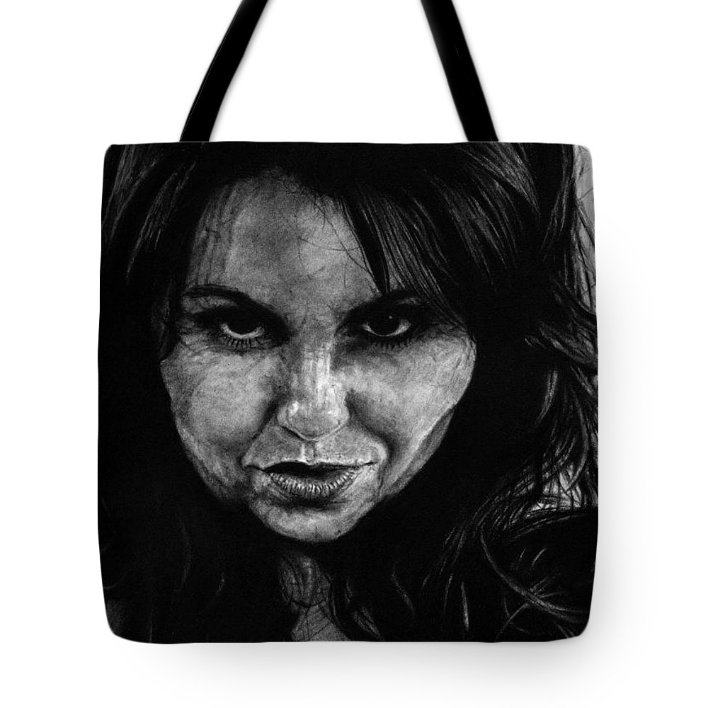 Portrait Girl Woman Sketch Drawing Charcoal Art Traditional Life Thought Smile Beautiful Expression Tote Bag featuring the drawing Reel Romance by Priscilla Vogelbacher