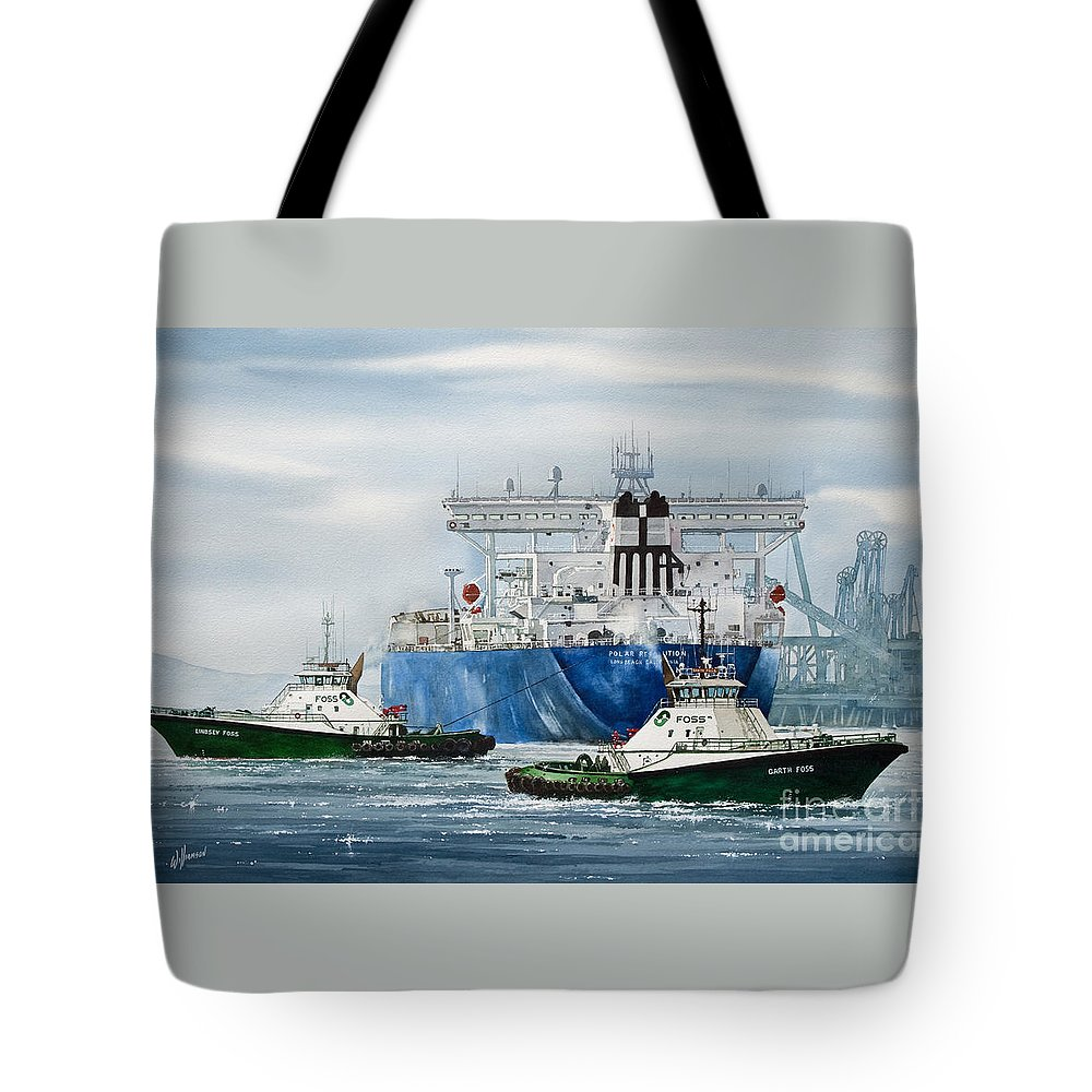 Tugs Tote Bag featuring the painting Refinery Tanker Escort by James Williamson