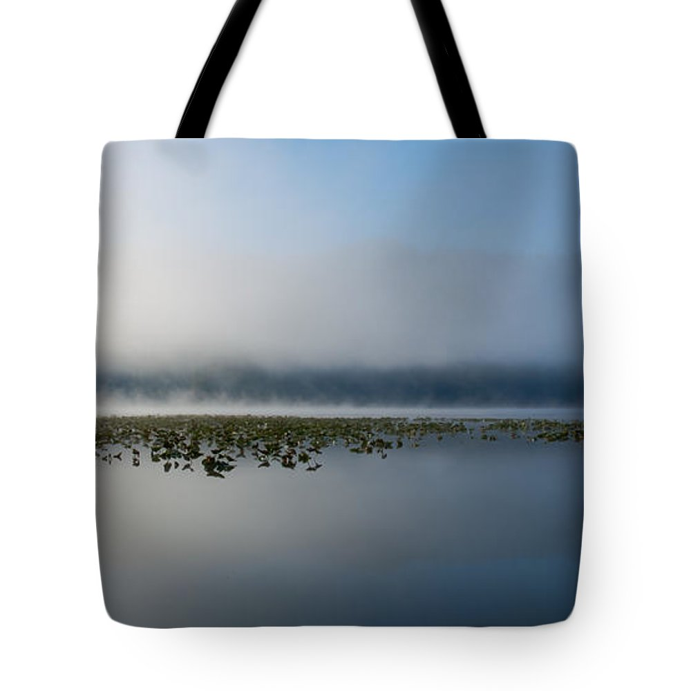 Fernan Lake Tote Bag featuring the photograph Reflected Mists by Idaho Scenic Images Linda Lantzy