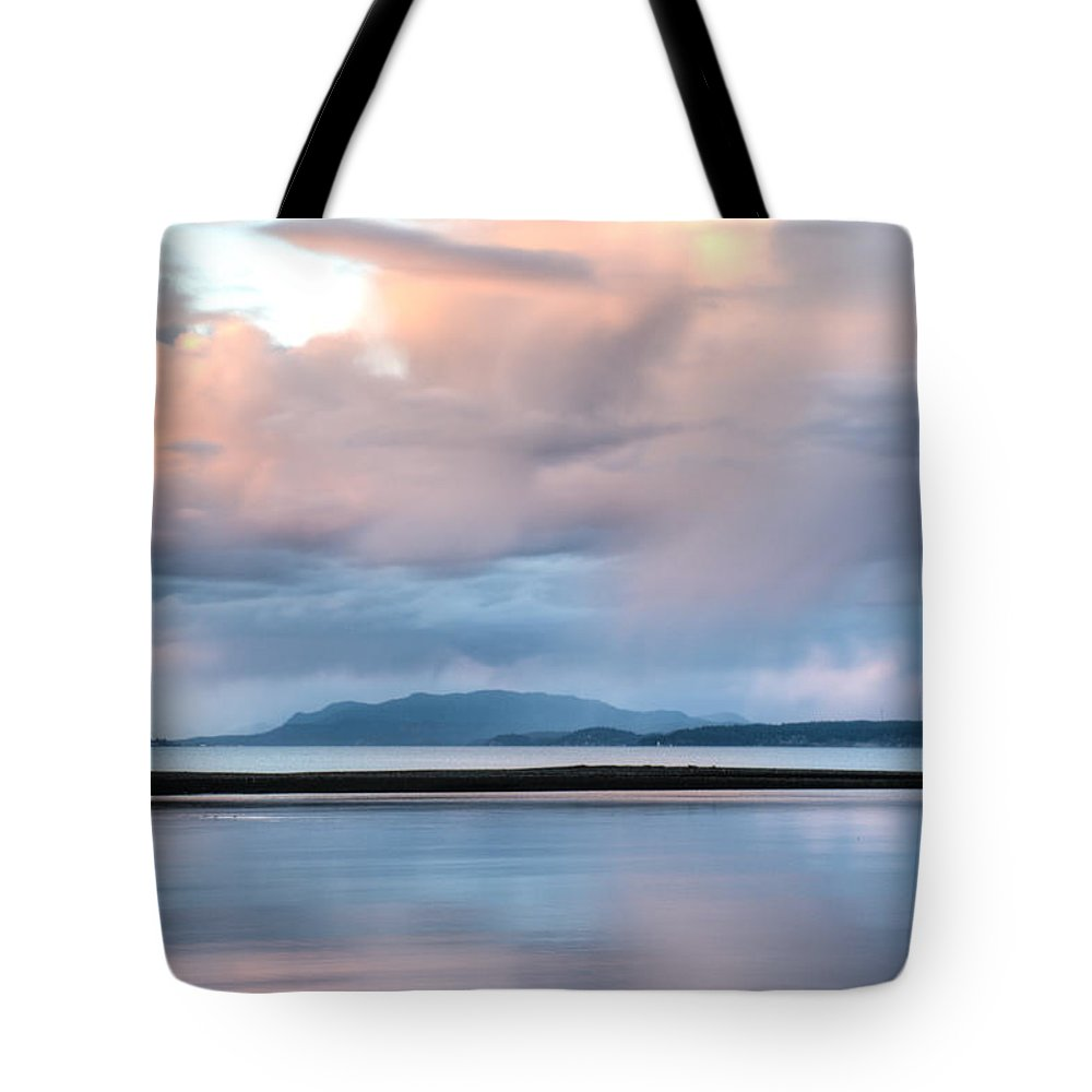 Oyster Bay Tote Bag featuring the photograph Reflected Pink by Kathy Paynter
