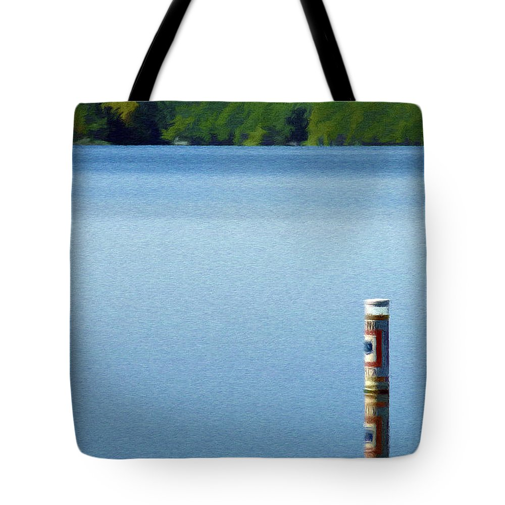 Blue Tote Bag featuring the painting Reflected Warning by Jeffrey Kolker
