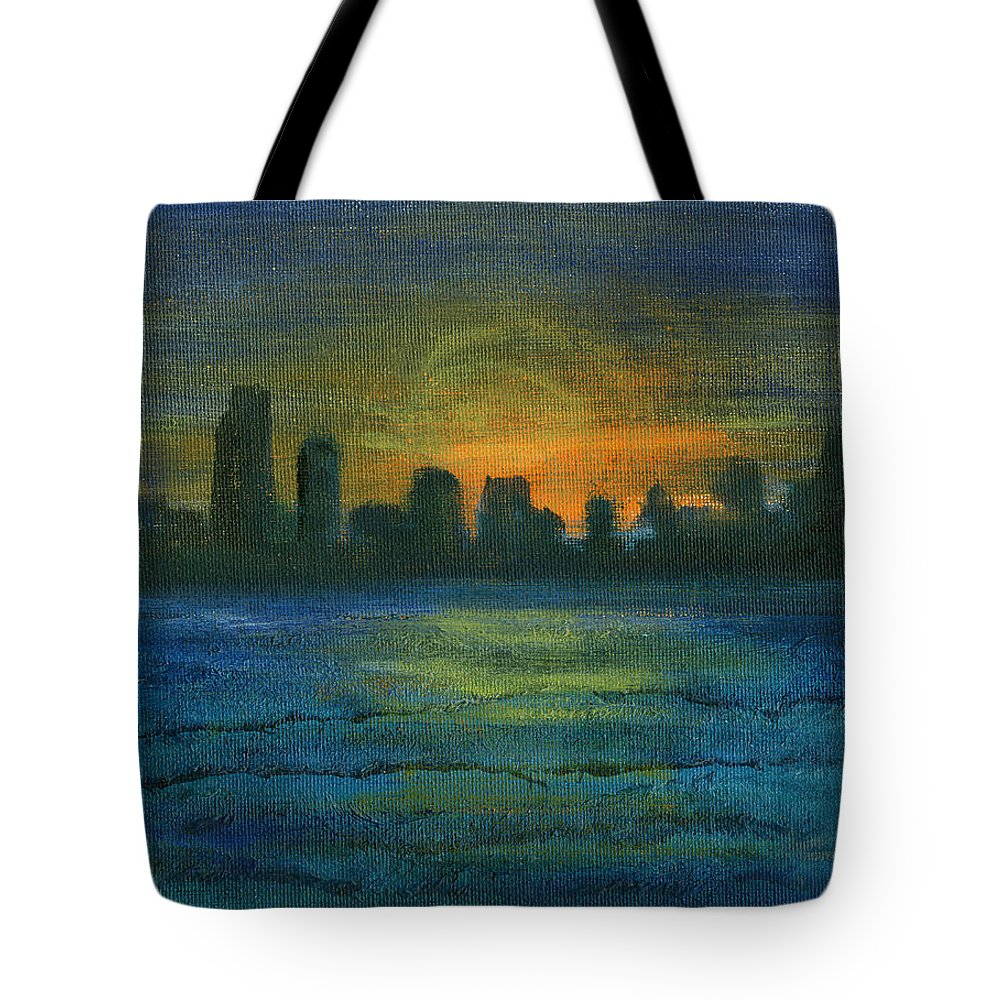 Seascape Tote Bag featuring the painting Reflecting Night by Jorge Delara