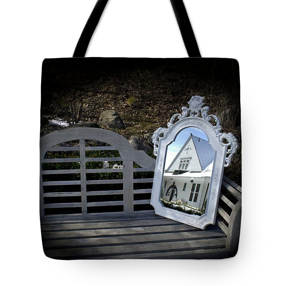 Mirror Tote Bag featuring the photograph Reflecting On The Past by LuAnn Griffin
