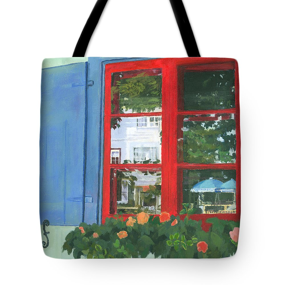 Window Tote Bag featuring the painting Reflecting Panes by Lynne Reichhart