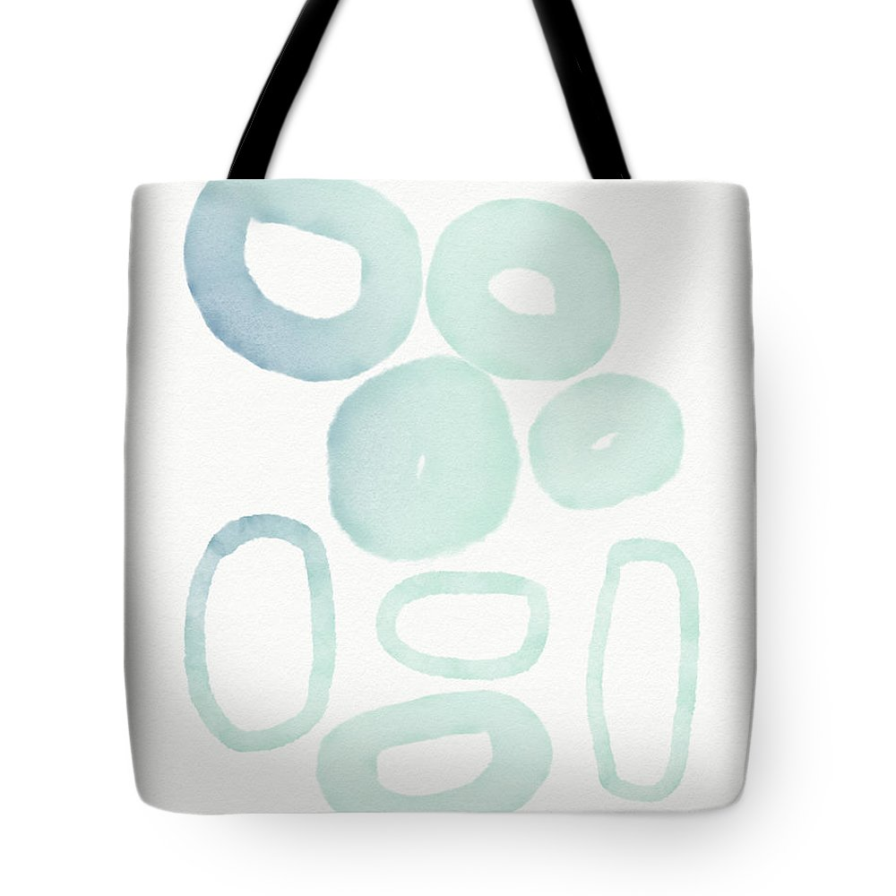 Circles Tote Bag featuring the mixed media Reflecting Pools- Art By Linda Woods by Linda Woods