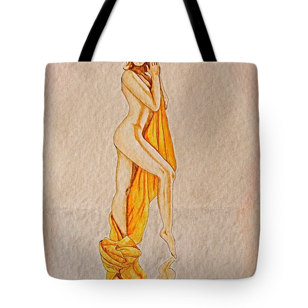 Nude Tote Bag featuring the painting Reflection by Herschel Fall
