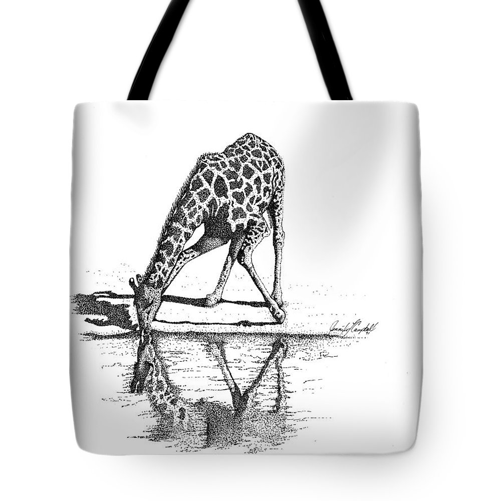 Jennifer Campbell Brewer Tote Bag featuring the drawing A Tall Drink Of Water by Jennifer Campbell Brewer