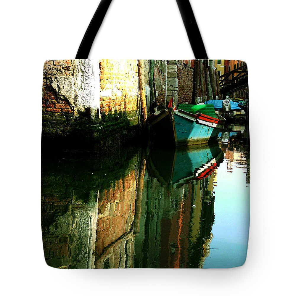 Venice Tote Bag featuring the photograph Reflection Of The Wooden Boat by Donna Corless
