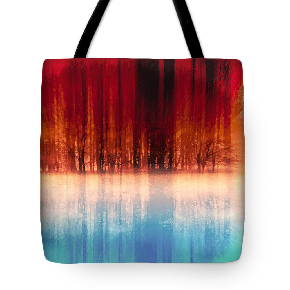 Abstract Tote Bag featuring the digital art Reflection Of Trees by Nannie Van der Wal