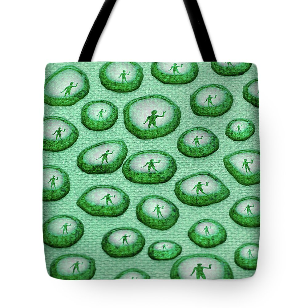 Women Human Figure Wave Drops Liquid Canvas Tote Bag featuring the photograph Reflection Of Waving Man In Water Droplets On Green by Reimar Gaertner