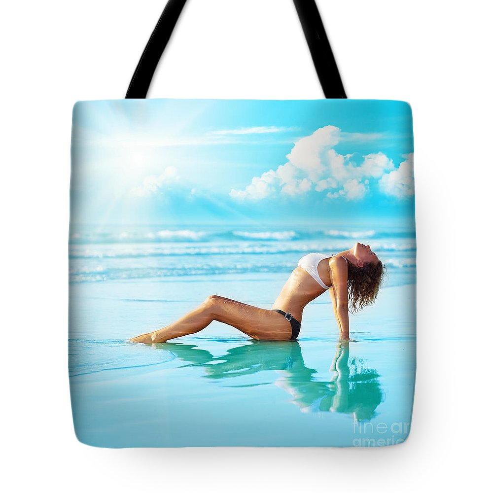 Copy-space Tote Bag featuring the photograph Reflection Of Young Woman by MotHaiBaPhoto Prints