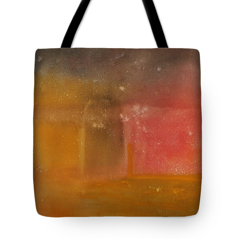 Storm Summer Red Yellow Gold Tote Bag featuring the painting Reflection Summer Storm by Jack Diamond