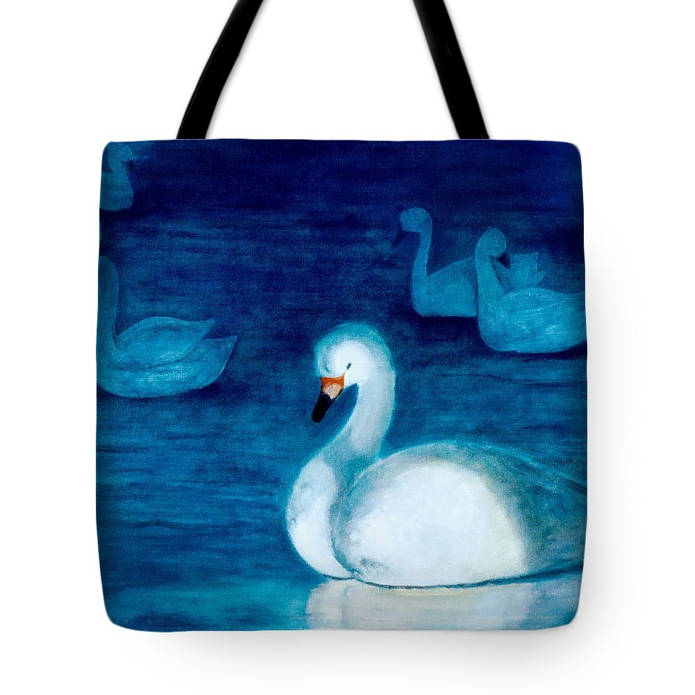 Duck Tote Bag featuring the painting Reflections 1 by Jun Jamosmos