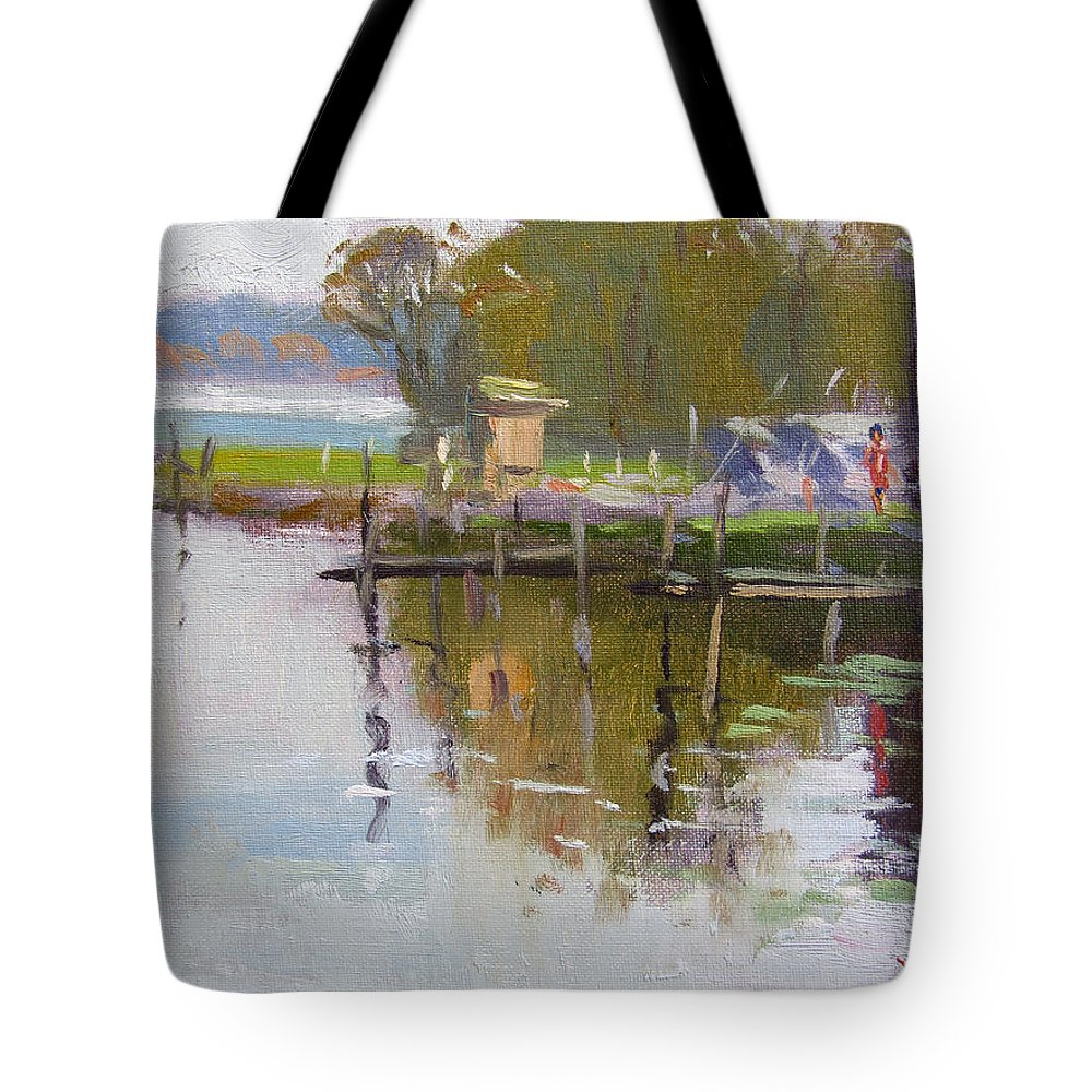 Reflections Tote Bag featuring the painting Reflections At Ashville Bay Marina by Ylli Haruni
