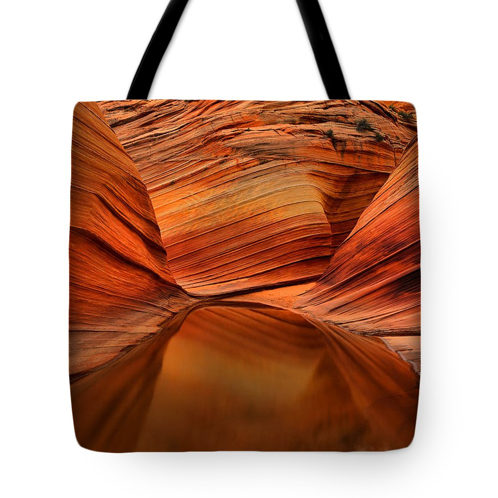 The Wave Tote Bag featuring the photograph Reflections At The Wave by Adam Jewell