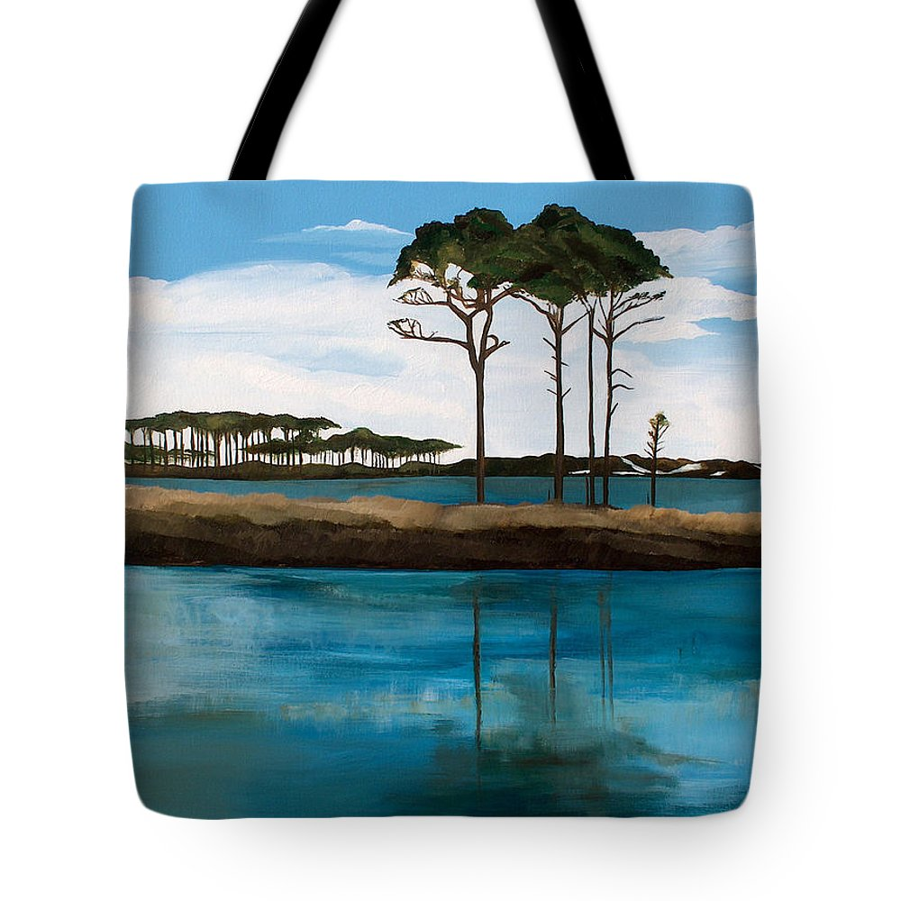Beach Tote Bag featuring the painting Reflections At Western Lake by Racquel Morgan