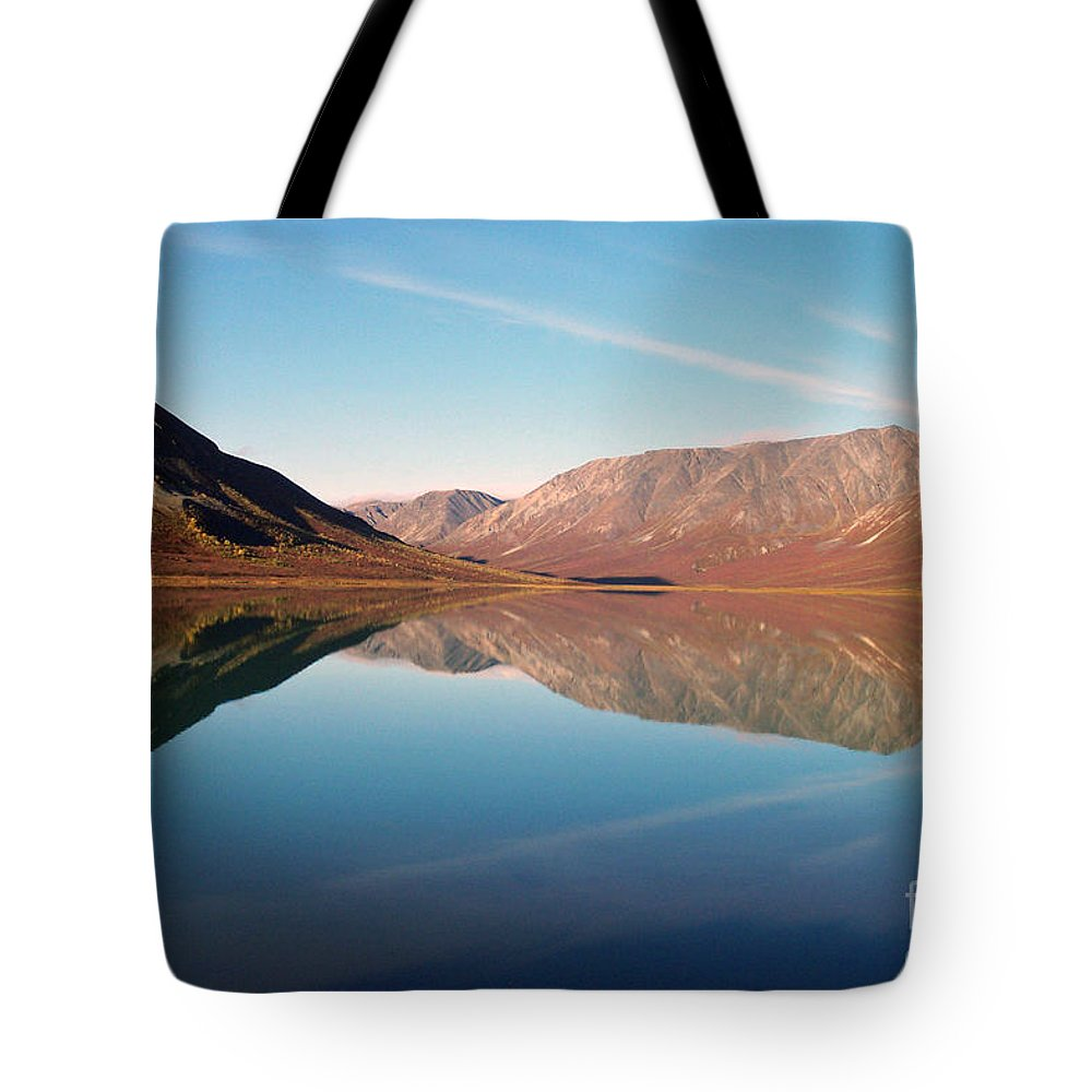Lake Tote Bag featuring the photograph Mountains Reflected On A Beautiful Lake by Denise McAllister