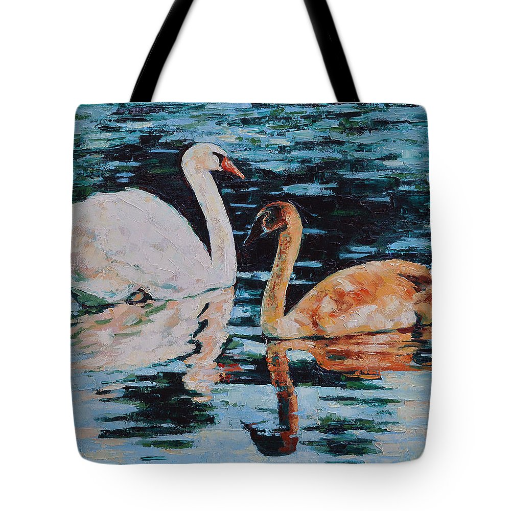 Blue Tote Bag featuring the painting Reflections by Iliyan Bozhanov