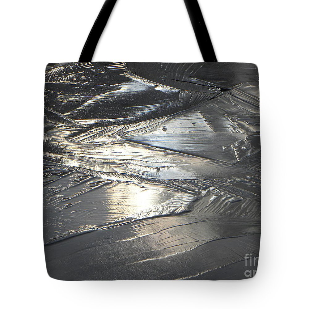 Abstract Landscape Tote Bag featuring the photograph Reflections In Dark Ice 3 by Belinda Sellari