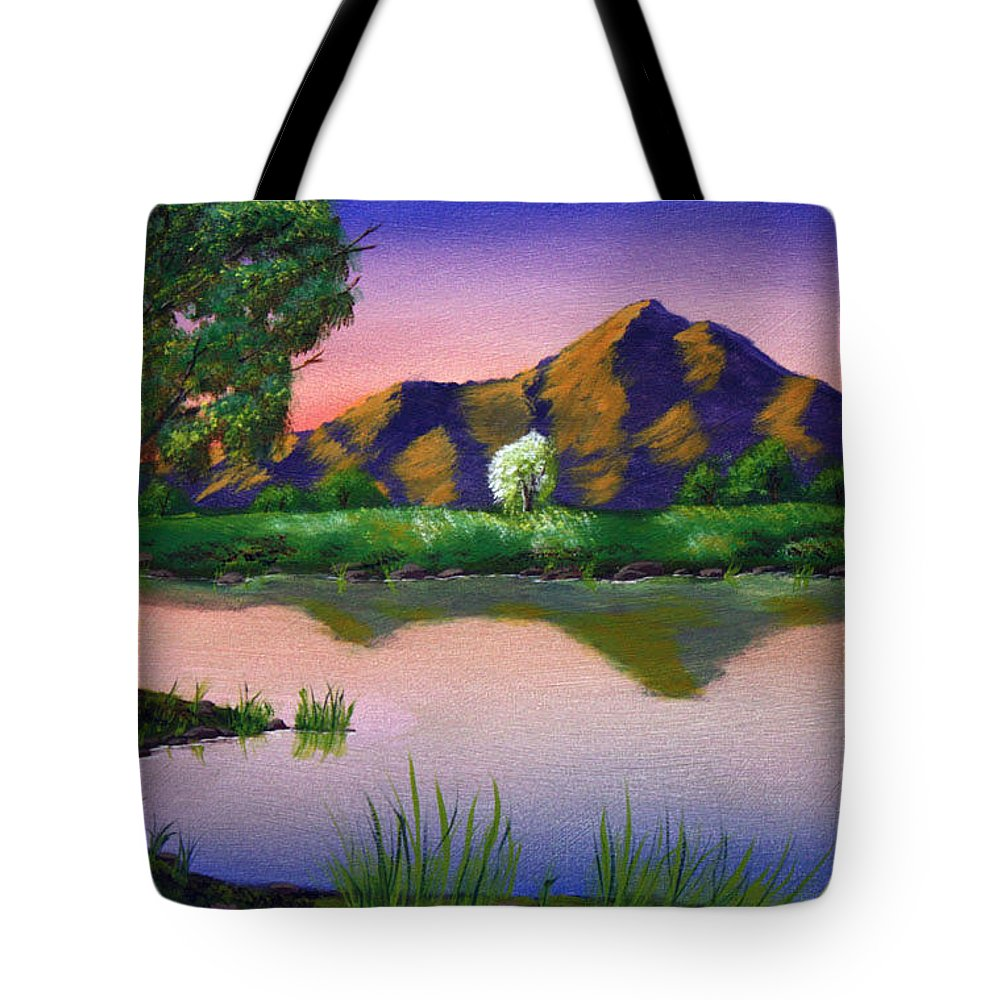 Landscape Tote Bag featuring the painting Reflections In The Breeze by Dawn Blair