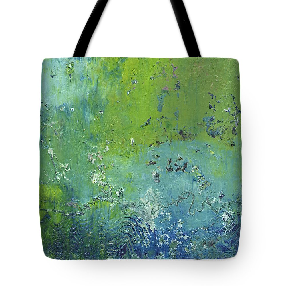 Abstract Tote Bag featuring the painting Reflections by Marcy Brennan
