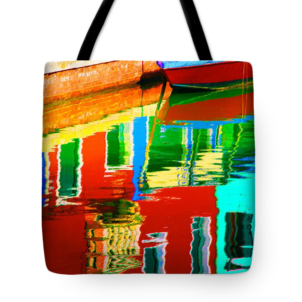 Abstract Tote Bag featuring the pastel Reflections Near The Red Hull by Donna Corless