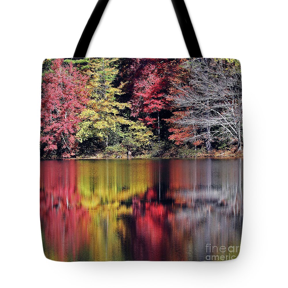 Water Tote Bag featuring the photograph Reflections Of A Bare Grey Tree by Jennifer Robin