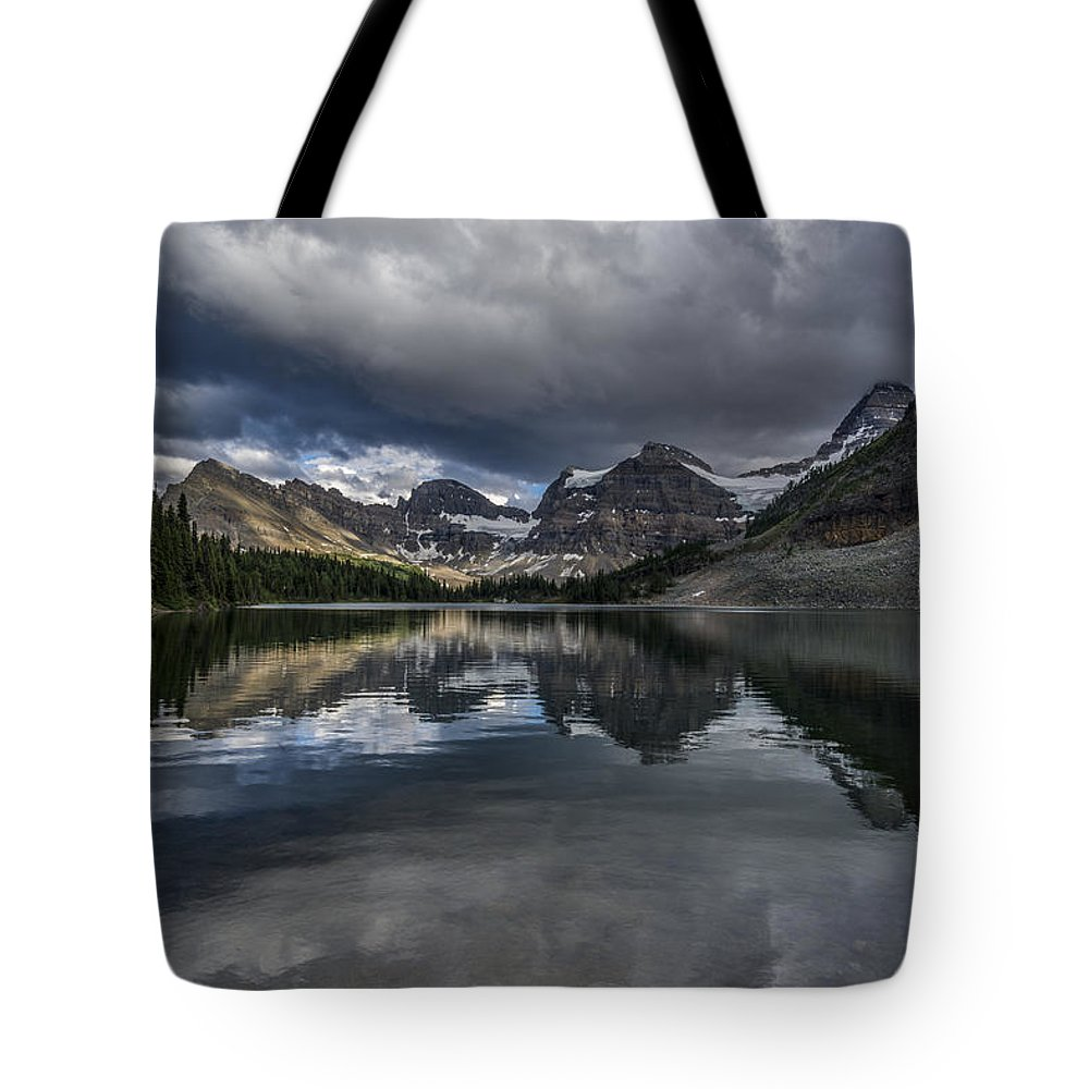 Alberta. Canada Tote Bag featuring the photograph Reflections Of Assiniboine by Howie Garber
