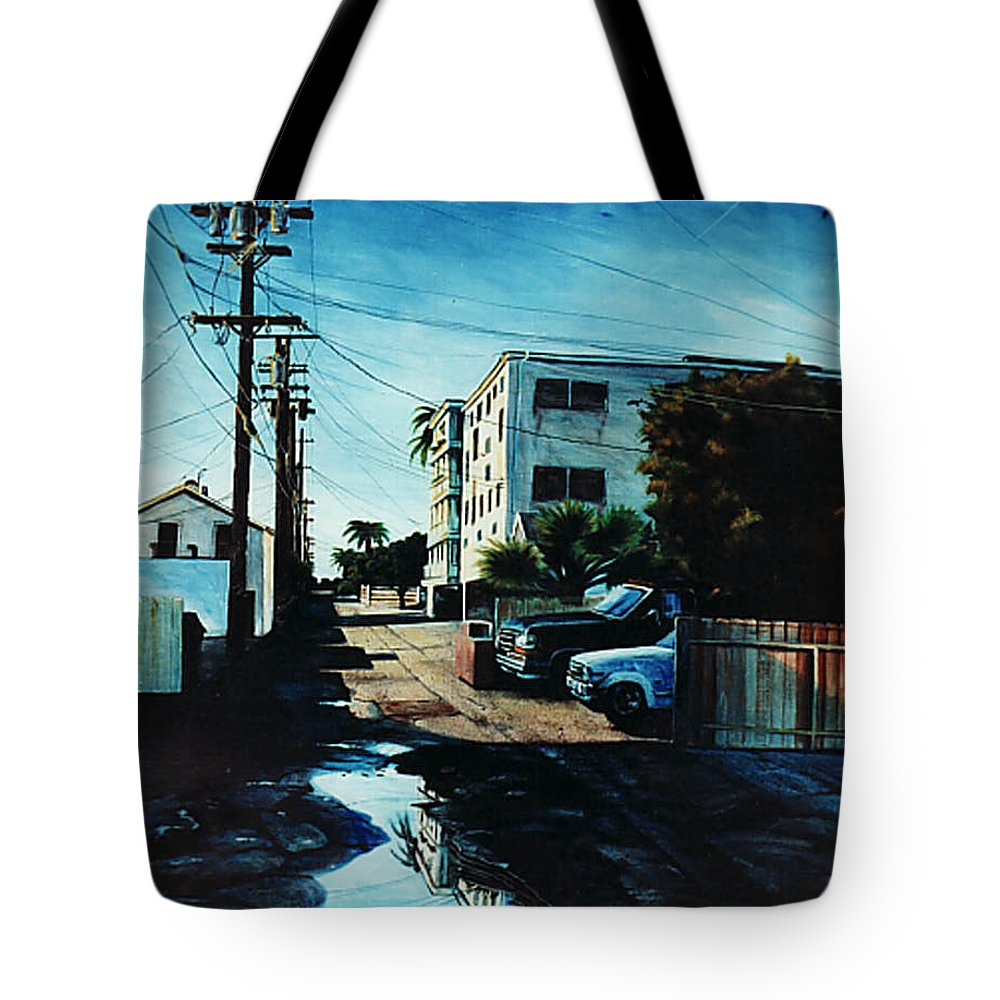 Cityscapes Tote Bag featuring the painting Reflections Of Blue by Duke Windsor
