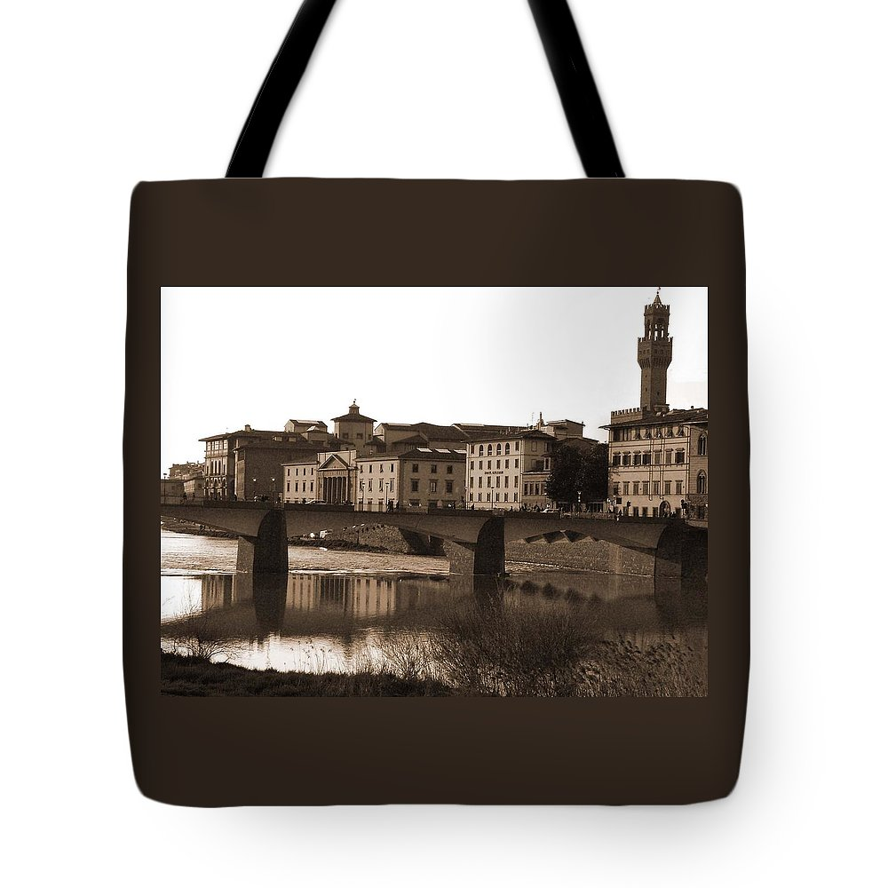 Sepia Tote Bag featuring the photograph Reflections Of Florence by Donna Corless