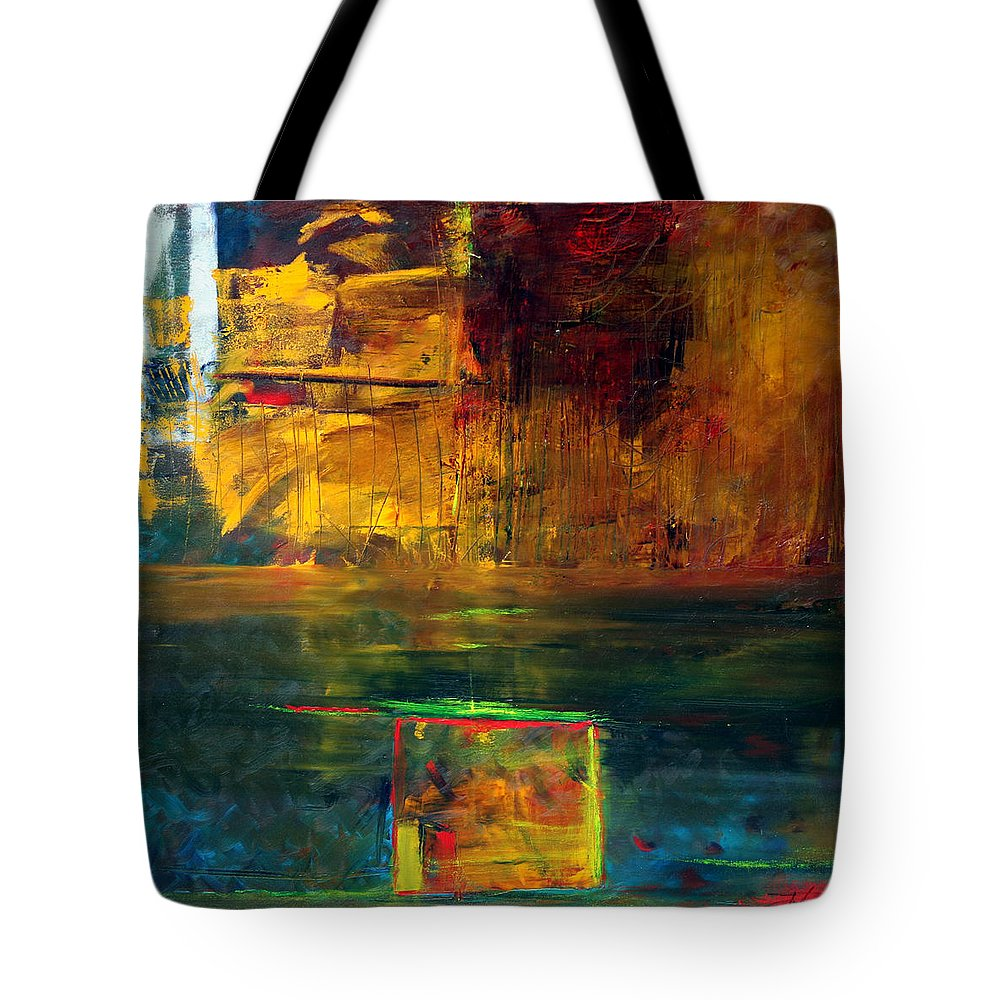 New York City Reflection Red Yellow Blue Green Tote Bag featuring the painting Reflections Of New York by Jack Diamond