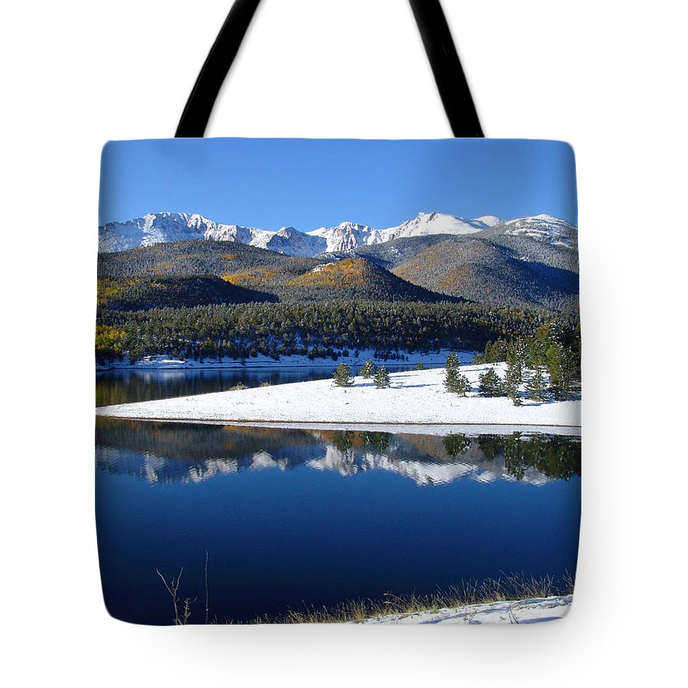 Landscape Tote Bag featuring the photograph Reflections Of Pikes Peak In Crystal Reservoir by Carol Milisen