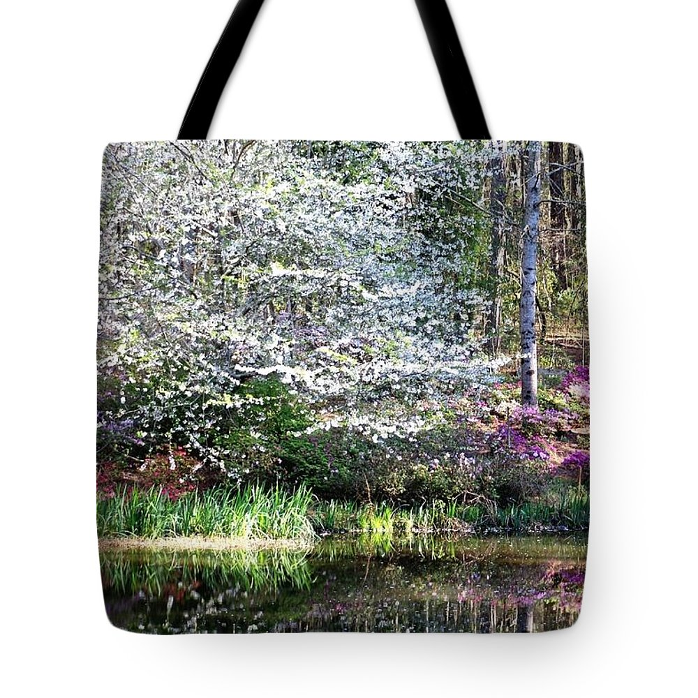 Gardens Tote Bag featuring the photograph Reflections Of Spring by Gayle Miller