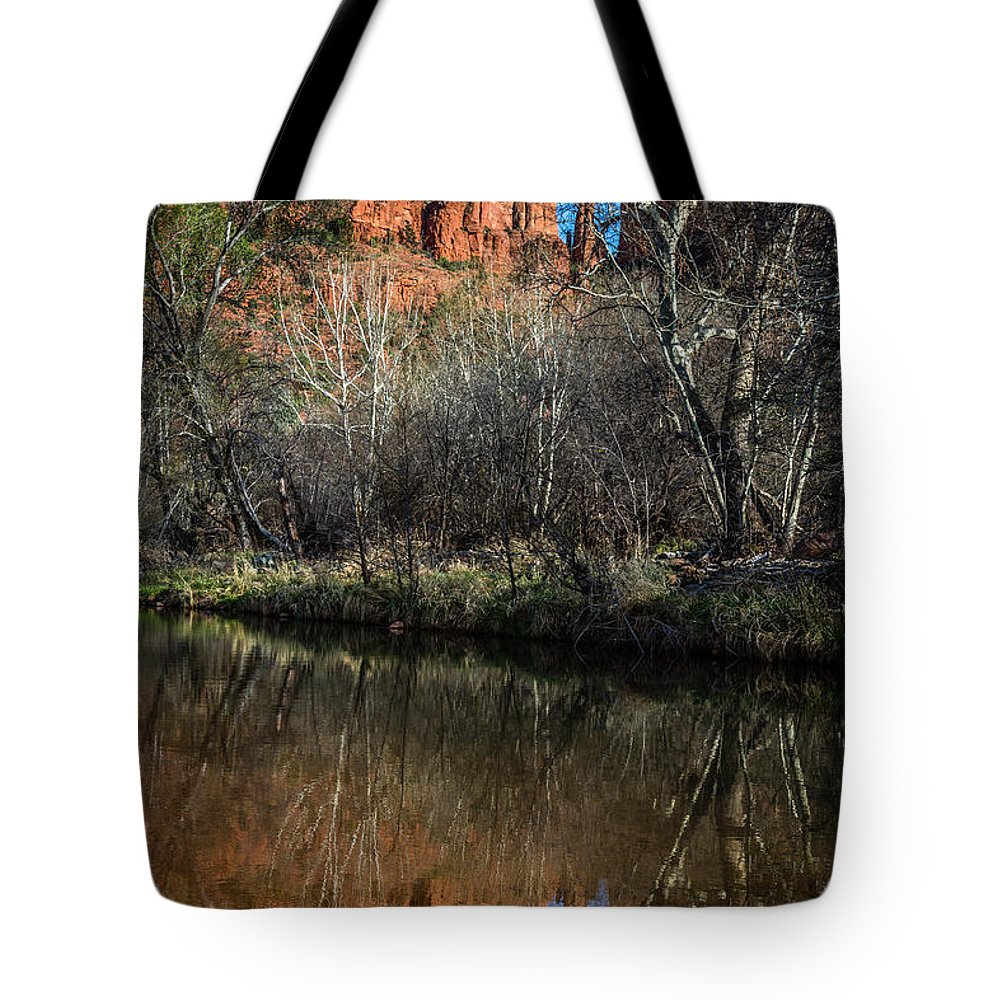 America Tote Bag featuring the photograph Reflections On Cathedral Rock by Dennis Swena