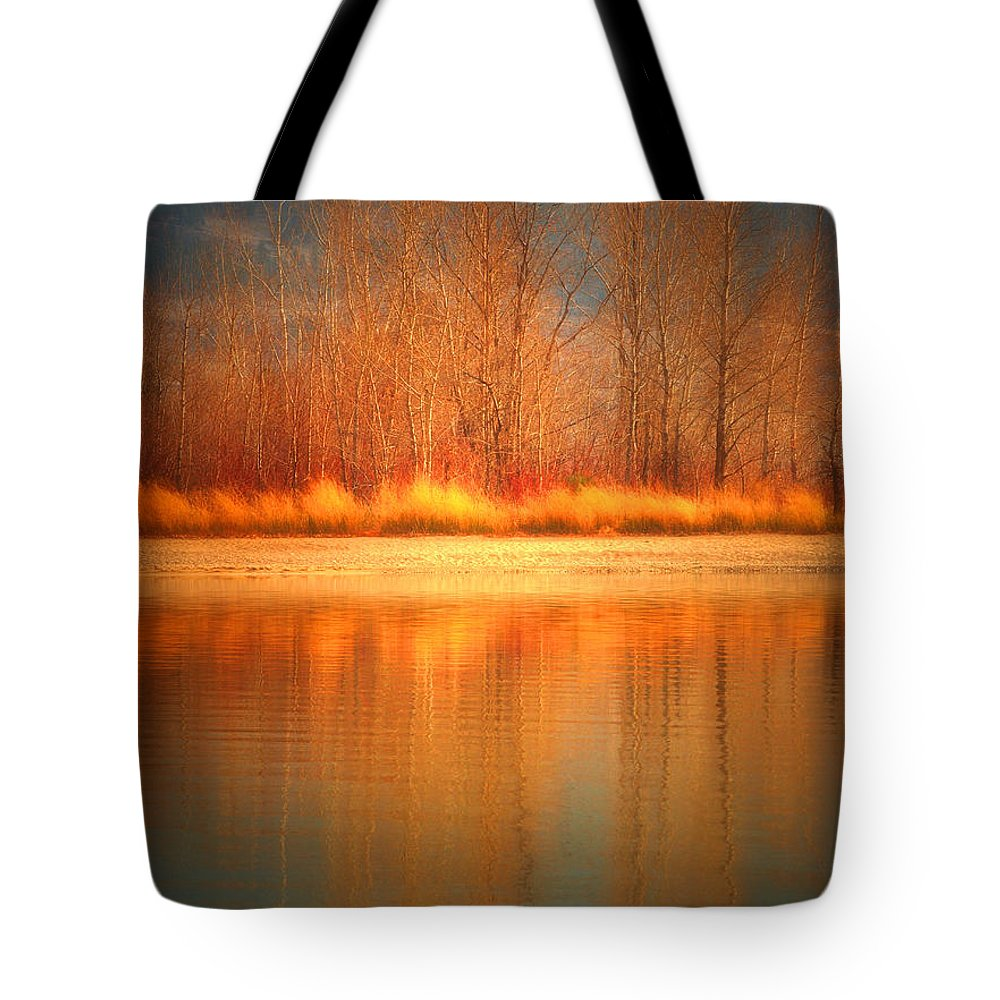 Okanagan Tote Bag featuring the photograph Reflections On Fire by Tara Turner