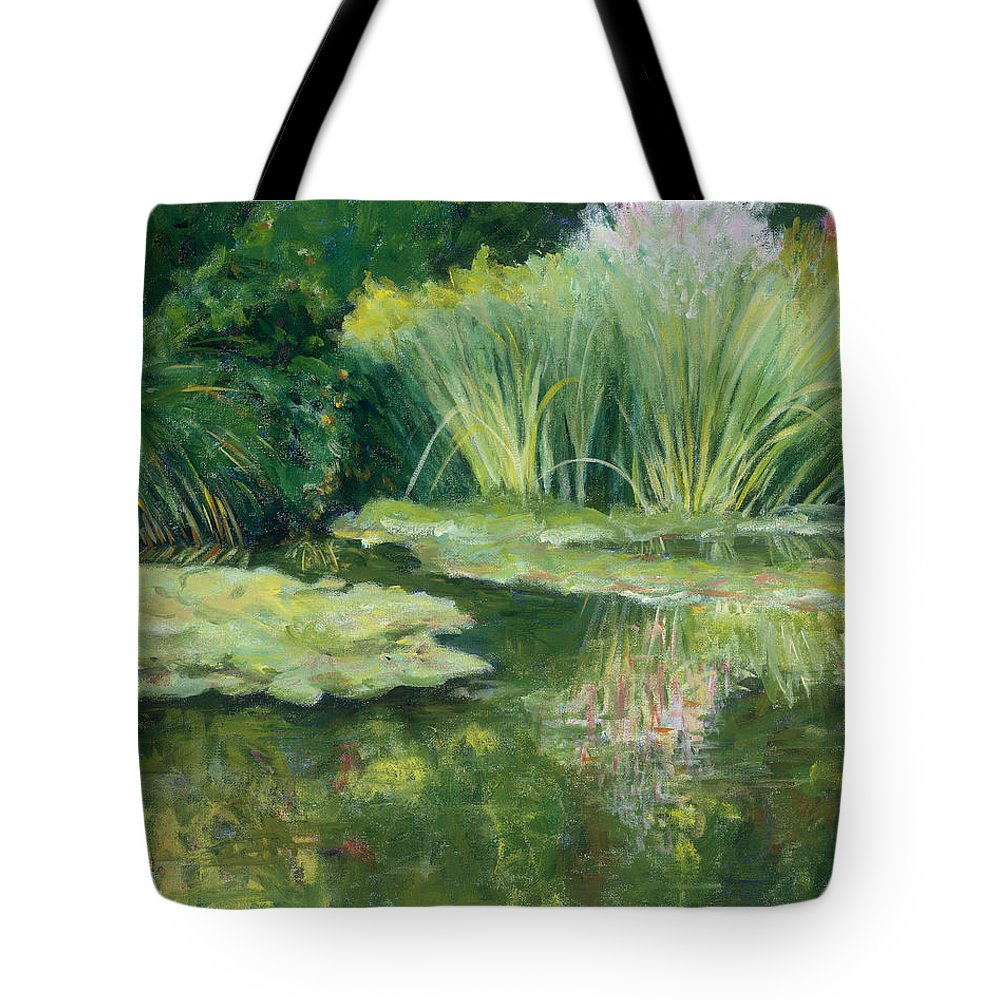 Impressionism Tote Bag featuring the painting Reflections On Monets Lily Pond by Tara Moorman