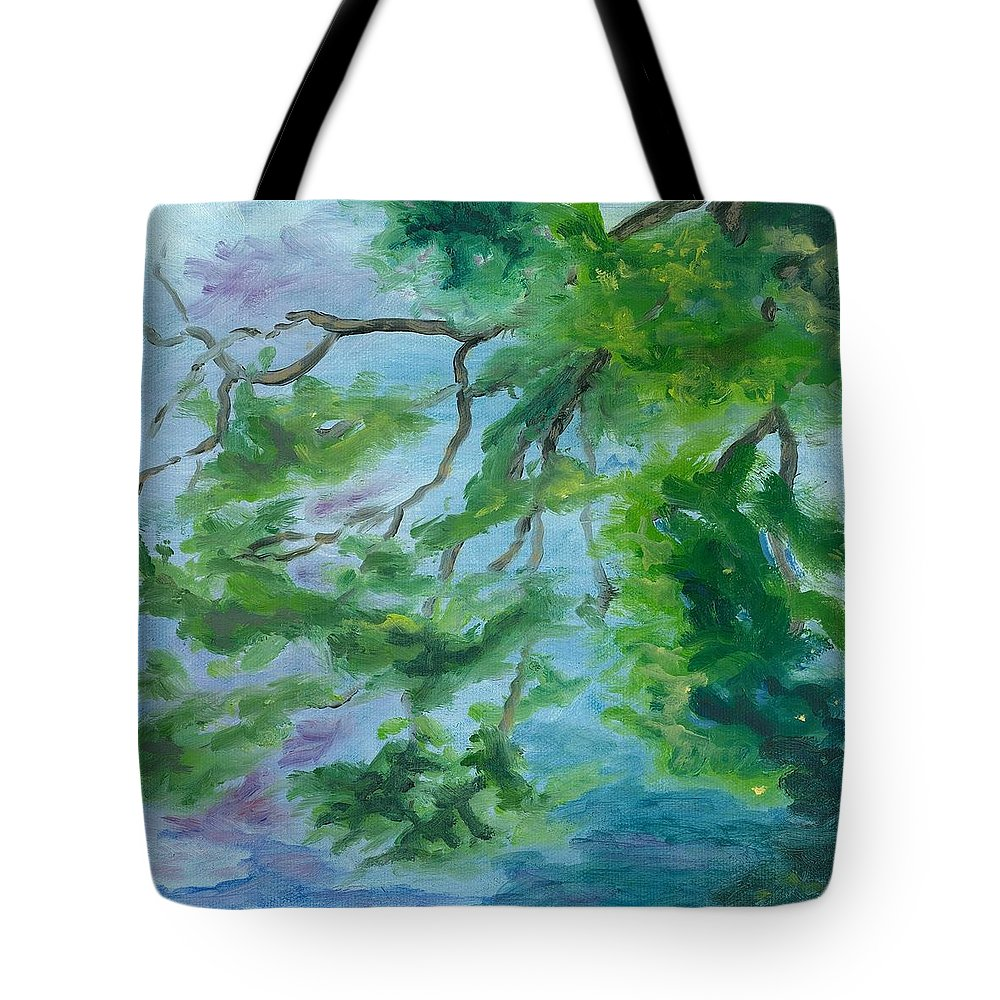 Reflections Tote Bag featuring the painting Reflections On The Mill Pond by Paula Emery