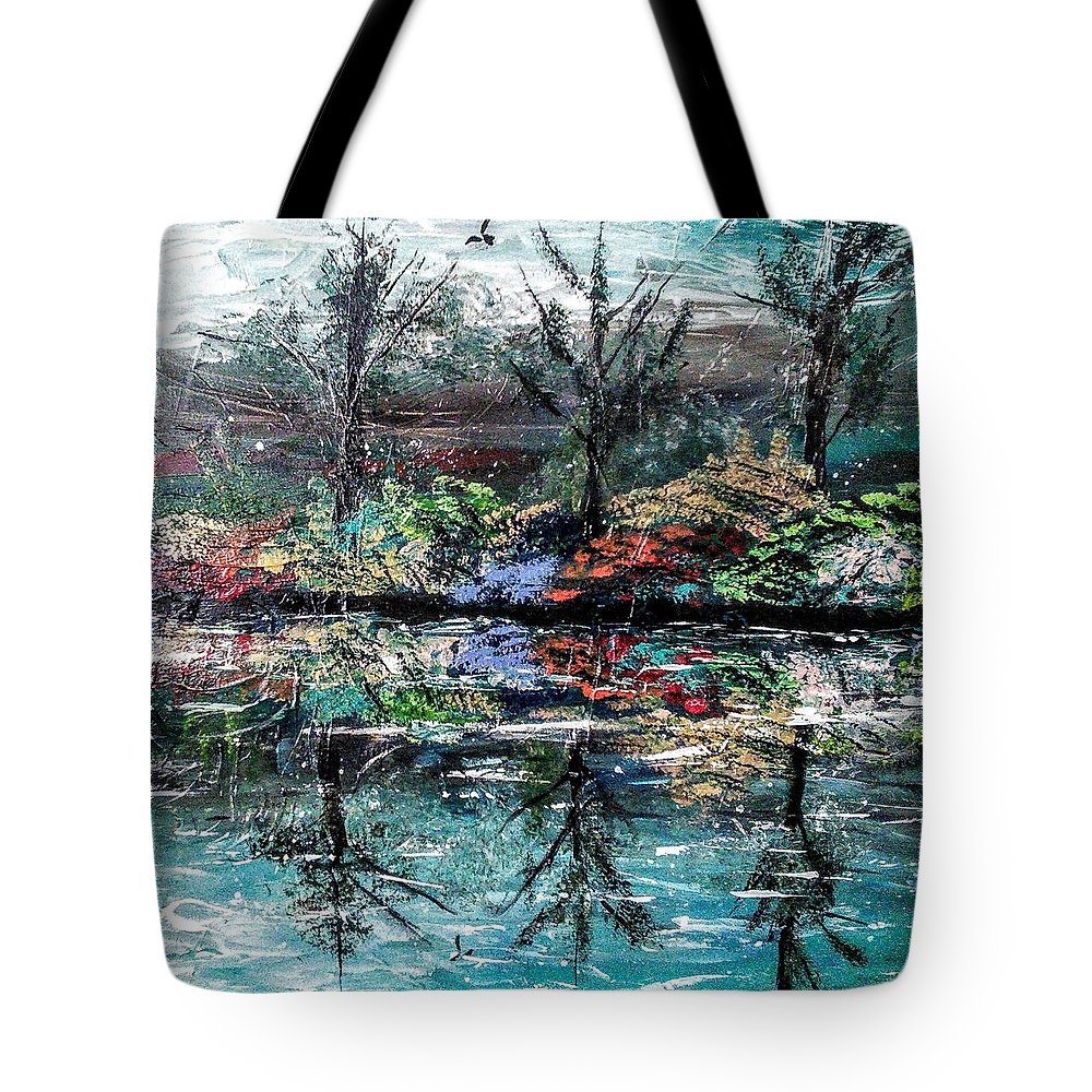 Woods Tote Bag featuring the painting Reflections by Valerie Josi