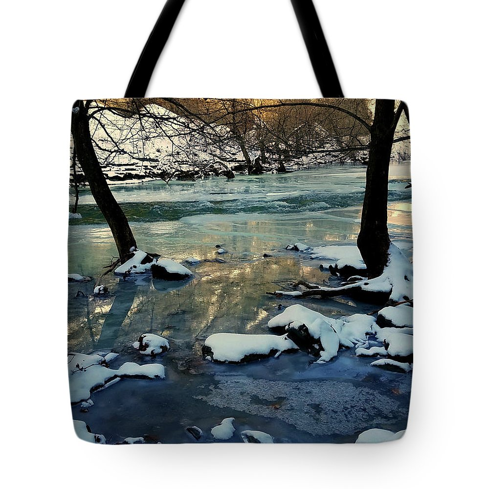 Trees Tote Bag featuring the photograph Reflective Chill by Kelly Cullen