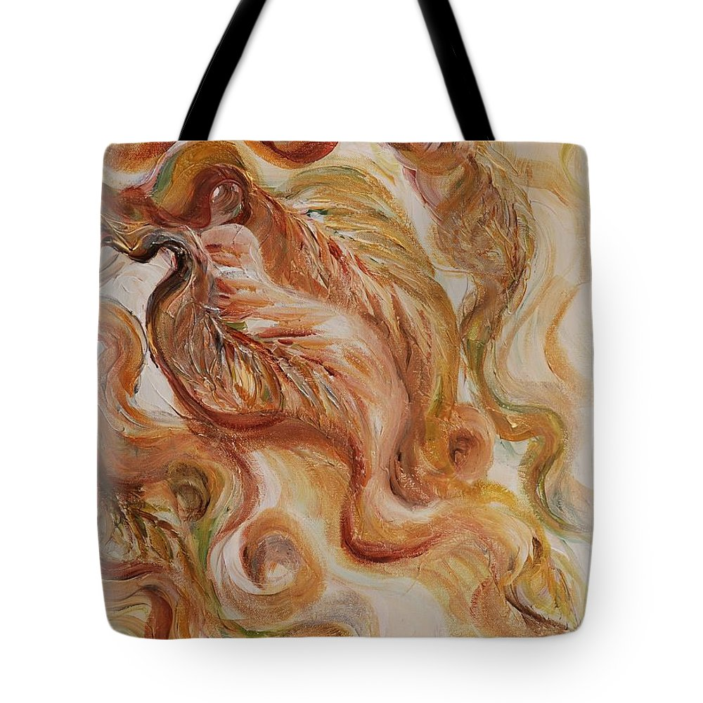 Leaves Tote Bag featuring the painting Reflective Leaves by Nadine Rippelmeyer