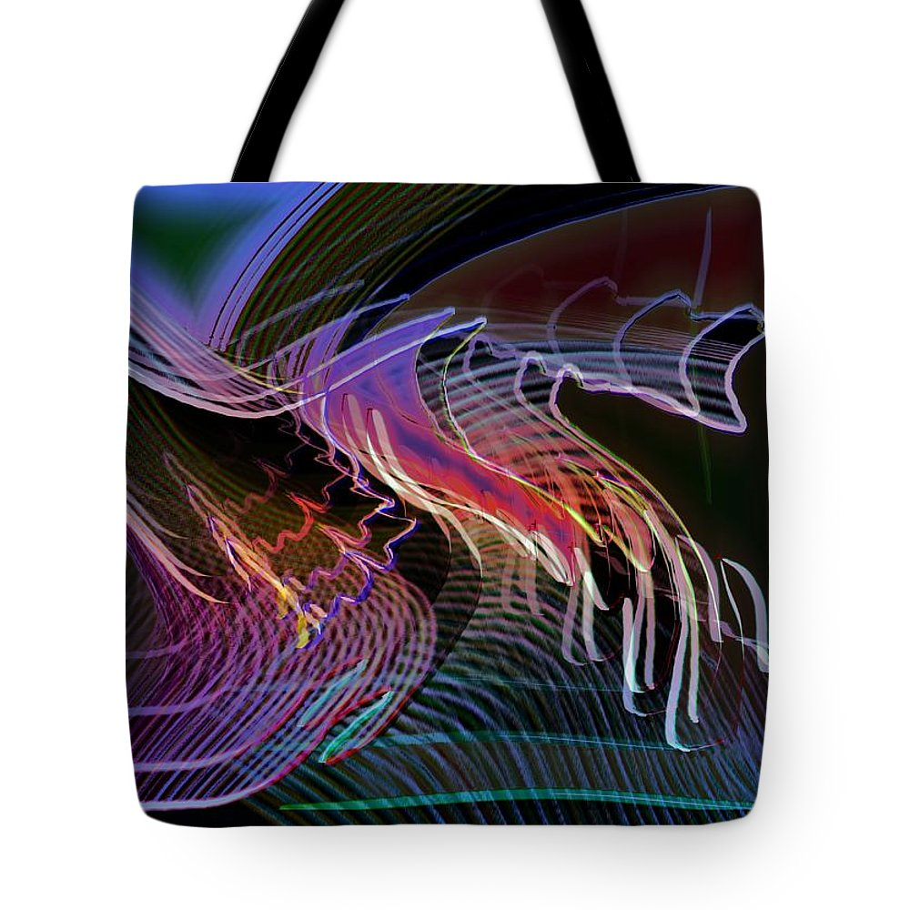 Drawing Tote Bag featuring the digital art Reflexions Blue by Helmut Rottler