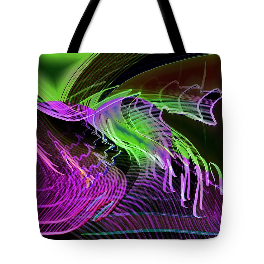 Drawing Tote Bag featuring the digital art Reflexions Green by Helmut Rottler
