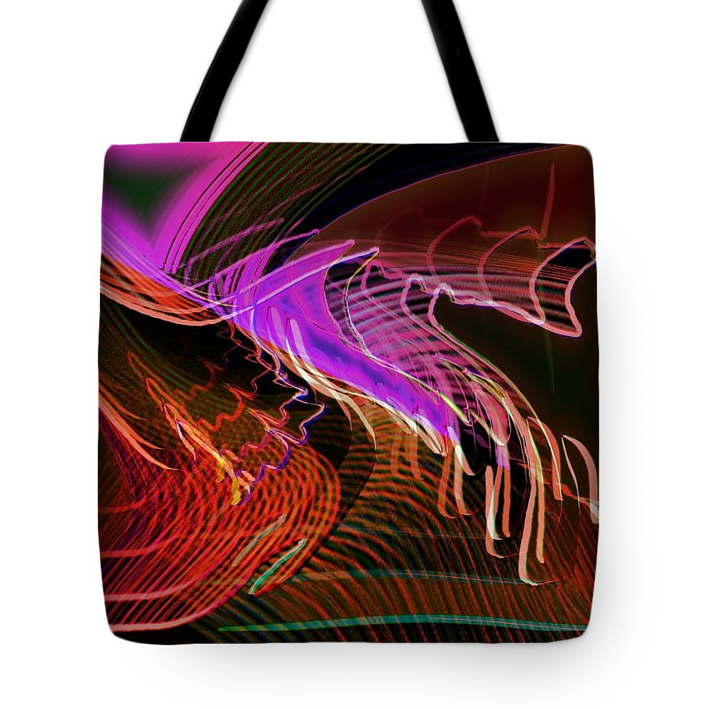 Drawing Tote Bag featuring the digital art Reflexions Red by Helmut Rottler