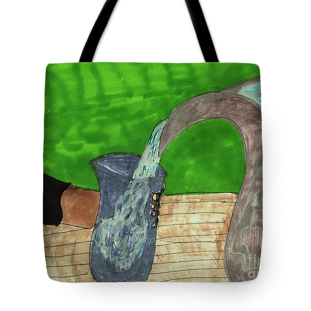 Pitcher Of Water Pouring Into A Glass Tote Bag featuring the mixed media Refreshing Water by Elinor Helen Rakowski