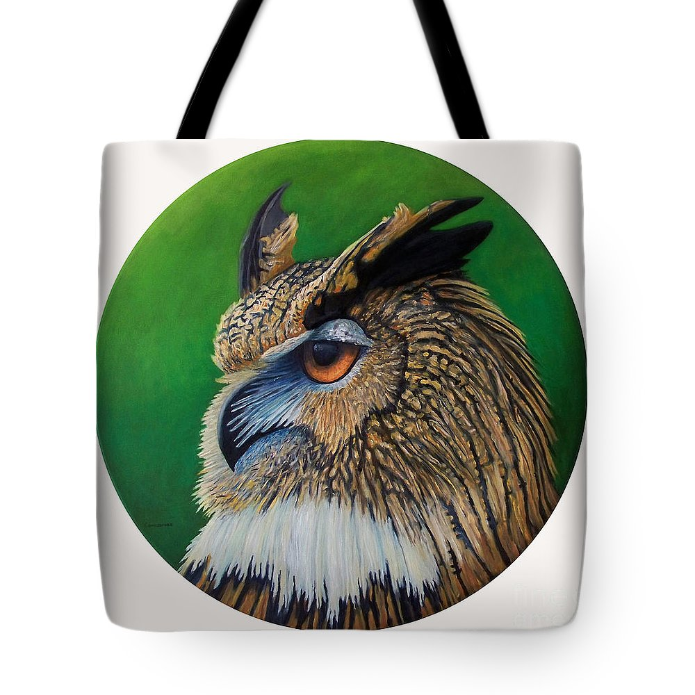 Owl Tote Bag featuring the painting Regal Gaze by Brian Commerford