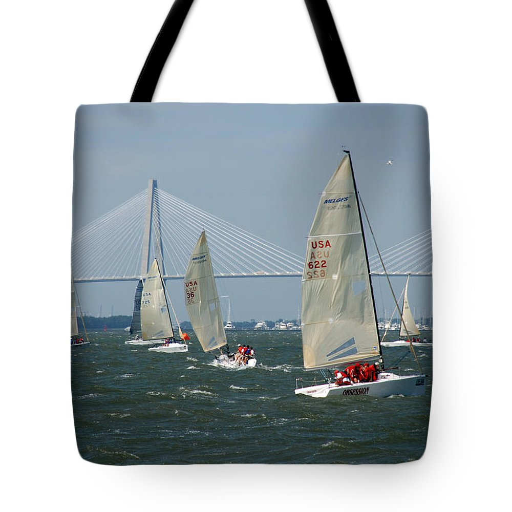 Photography Tote Bag featuring the photograph Regatta In Charleston Harbor by Susanne Van Hulst