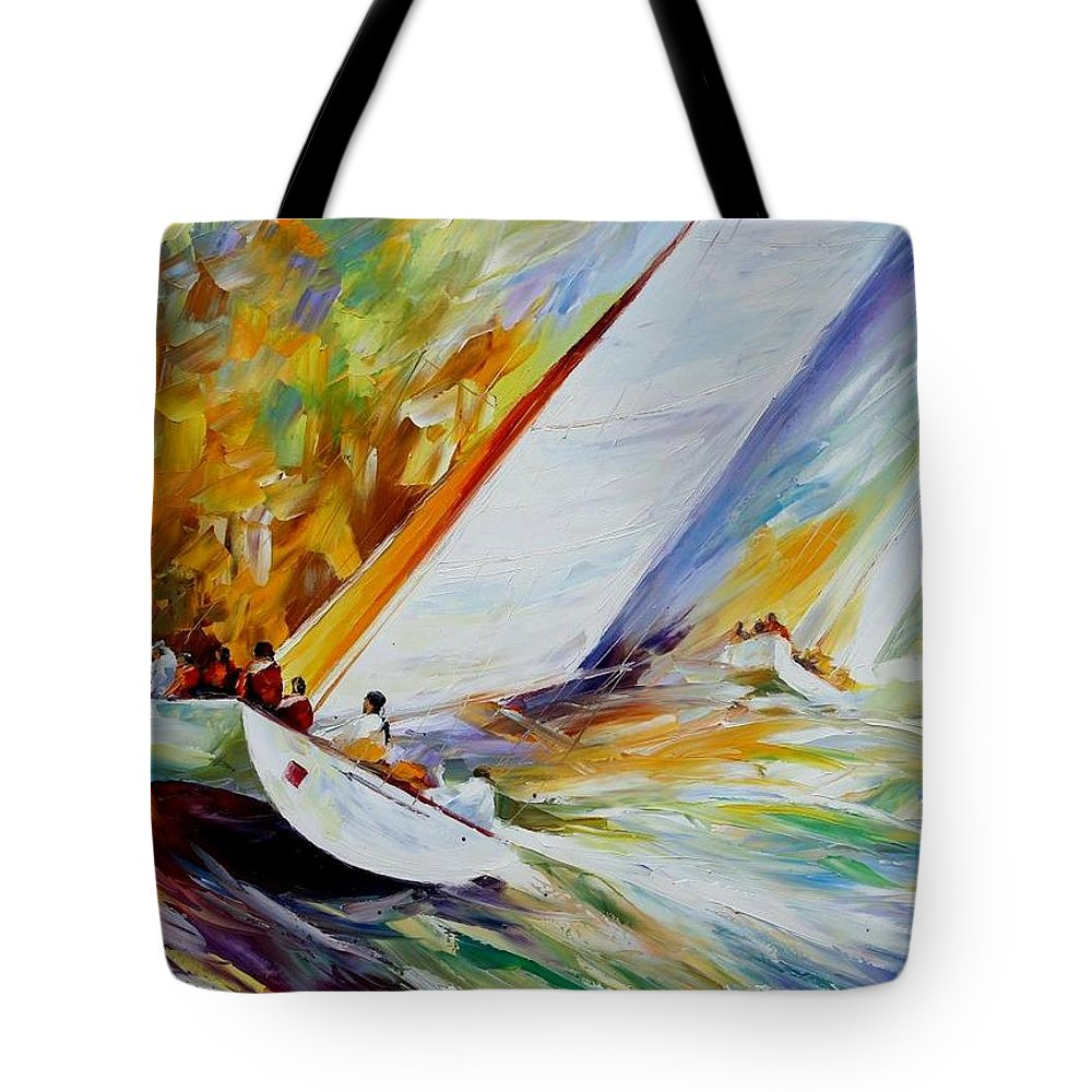 Afremov Tote Bag featuring the painting Regatta by Leonid Afremov