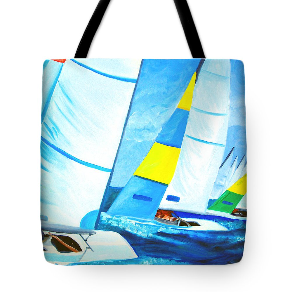 Sailing Tote Bag featuring the painting Regatta by Michael Lee