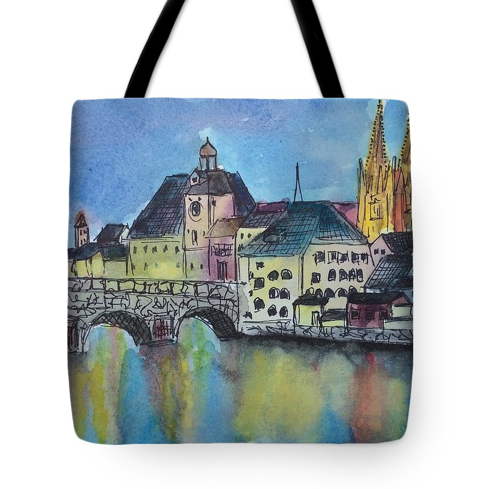 Regensburg Tote Bag featuring the painting Regensburg at Night by Emily Page