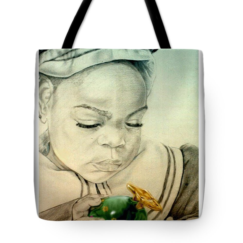 Child Tote Bag featuring the drawing Regi by Reggie Duffie